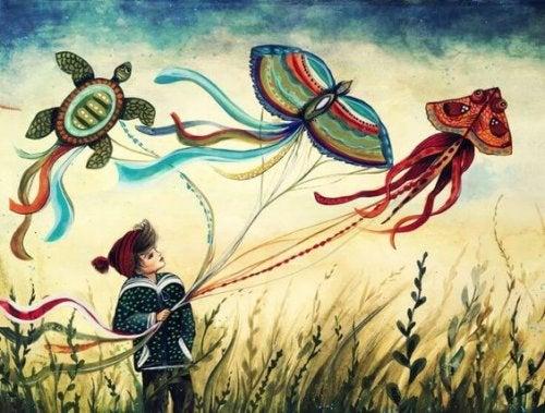 Dziecko z latawcami