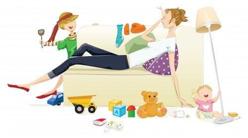 Matka bawiącego się dziecka - wyczerpanie