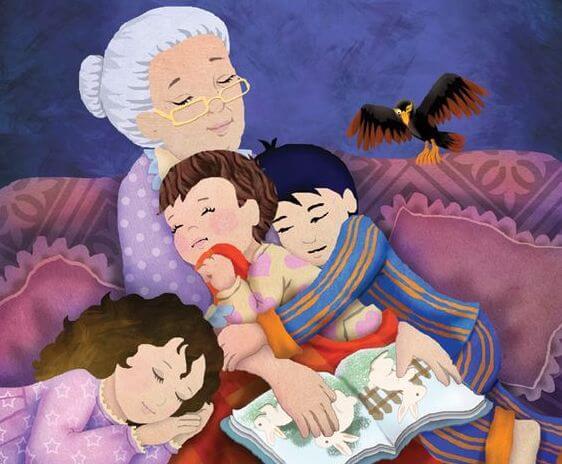 Babcia czytająca wnukom