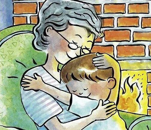 Babcia przytulająca wnuka