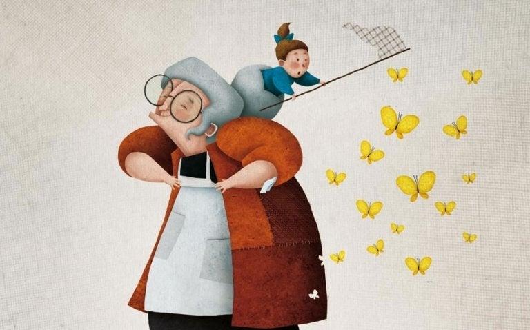 Babcia z dzieckiem na plecach łapiącym motyle do siatki