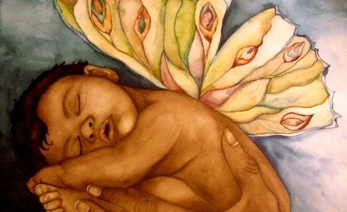 Obraz przedstawiający dziecko ze skrzydłami motyla