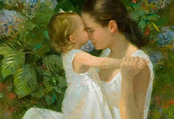 Mama i córka dotykające się czołami