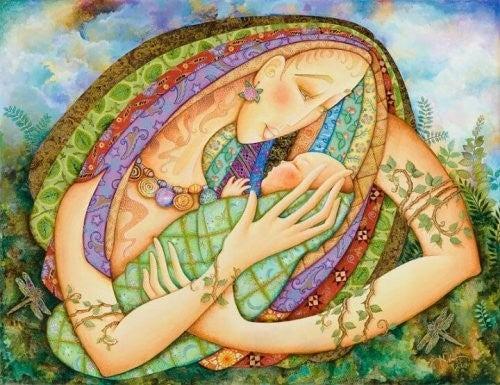Mama jest tarczą dla dziecka i chroni je - obraz