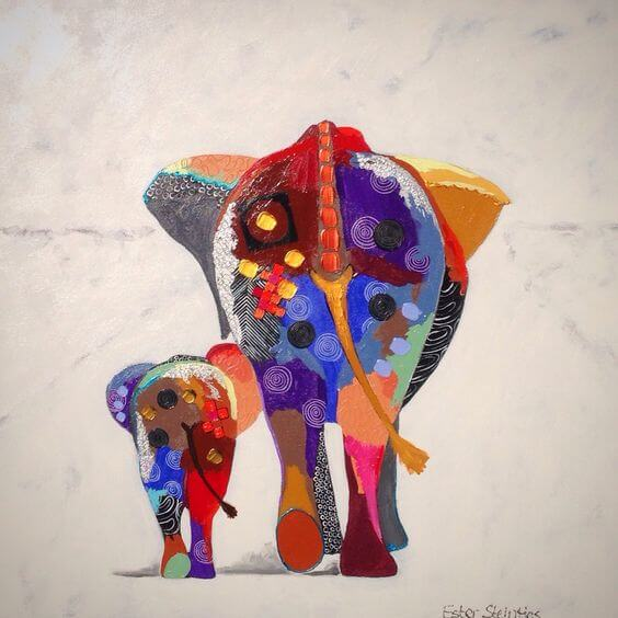 Mama słoń z małym słoniątkiem