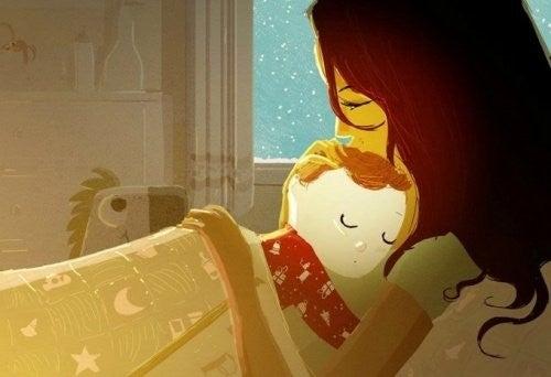 Obraz przedstawia dziecko wtulone w mamę podczas snu
