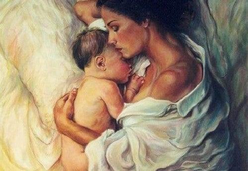Obraz przedstawiający śpiące dziecko z matką