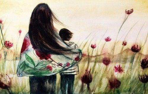 Obraz przedstawiający mamę z dzieckiem na łące