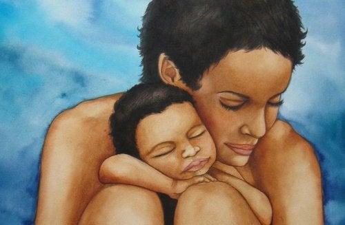 Rozpieszczanie - mama przytula dziecko