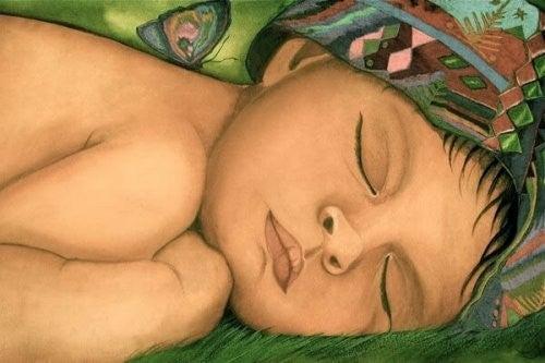 Śpiące dziecko obraz