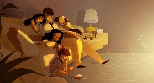 Zmęczenie - rodzina drzemie na kanapie