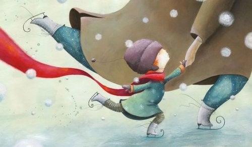 Dziecko jeżdżące na łyżwach