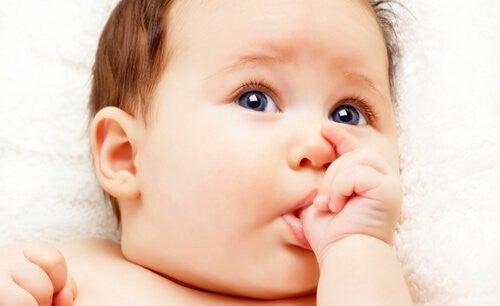 Dziecko ssące kciuk