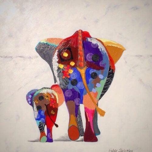 Dwa kolorowe słonie