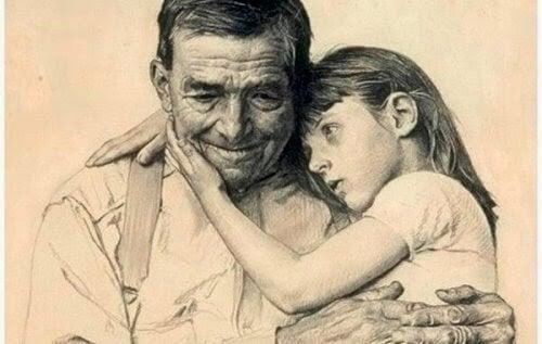 Dziadek niesie wnuczkę