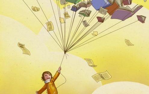 Dziewczynka trzymająca na sznurku książki o inteligencji emocjonalnej odlatujące w niebo