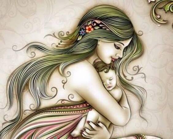 Fresk przedstawiający mamę przytulającą niemowlę do piersi