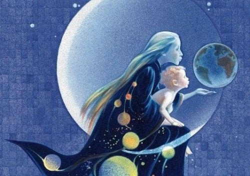 Obraz przedstawiający matkę z dzieckiem na tle ksieżyca
