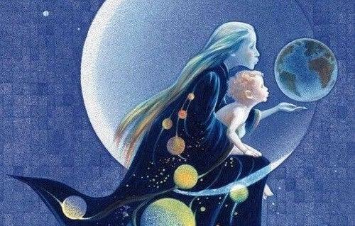 Matka z dzieckiem ogląda księżyc