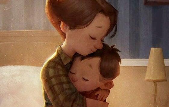 Mama przytulająca mocno chłopca