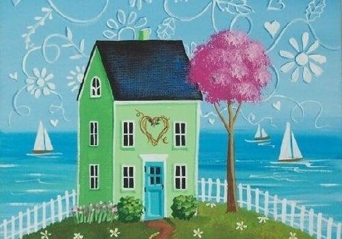 Narysowany dom nad jeziorem