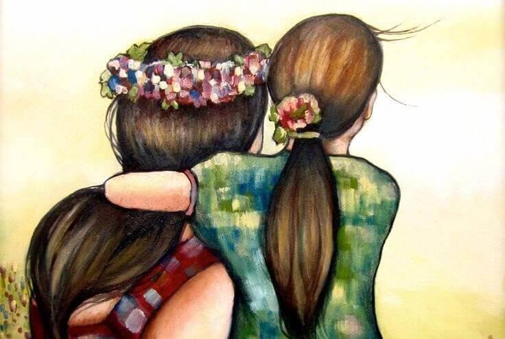 Przytulające się mama i córka