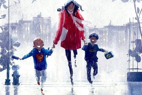 Roześmiana mama skacząca po ulicy, trzymająca dwóch synów za ręce