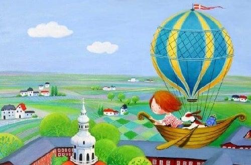 Rysunek dziecka lecącego balonem