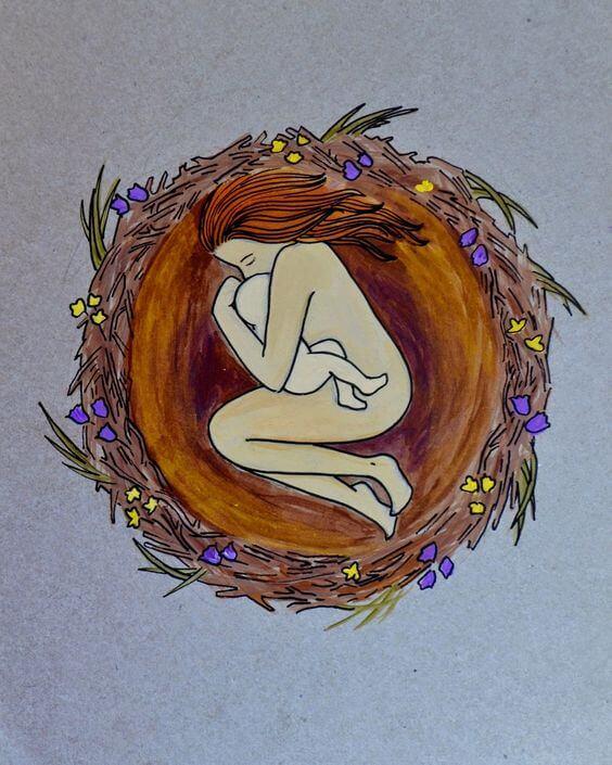 Rysunek mamy owiniętej wokół dziecka leżącej w gnieździe
