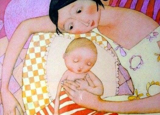 Rysunek mamy przytulającej niemowlę śpiące na poduszce i zapewniającej mu kontakt fizyczny