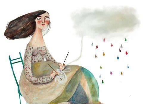 Rysunek mamy robiącej na drutach z chmury, z której pada tęczowy deszcz