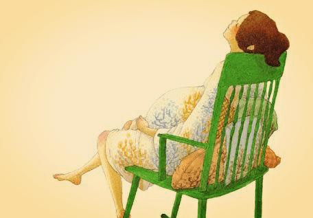 Rysunek przedstawiający mamę w ciąży siedzącą na ławce