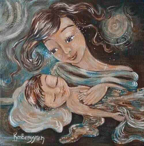 Rysunek uśmiechniętej mamy głaszczącej śpiące dziecko - zawsze będę Cię kochać