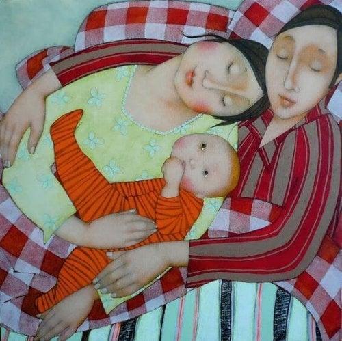 rysunek śpiącej rodziny