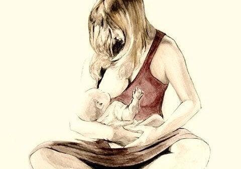 Rysunek mamy siedzącej po turecku i karmiącej dziecko piersią - połóg bywa trudny
