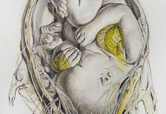 Skulone niemowlę oplecione liśćmi i gałązkami