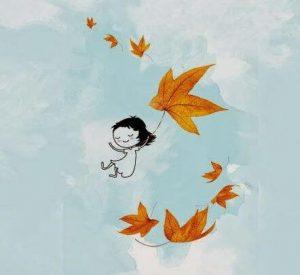 Szczęśliwa dziewczynka skacze na wielkim liściu