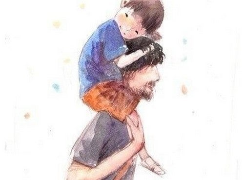 Ojciec bawiący się z synem
