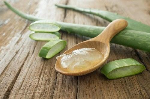 Pocięte liście aloesu i żel aloesowy na drewnianej łyżce leżące na drewnianym stole