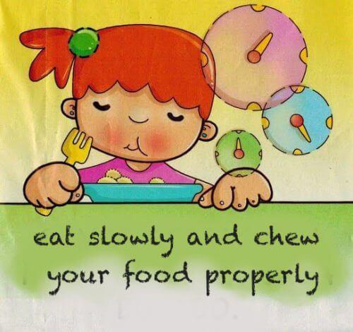 Dziewczynka jedząca posiłek - rysunek