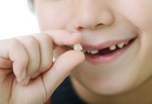 Dziecko z zębem w palcach