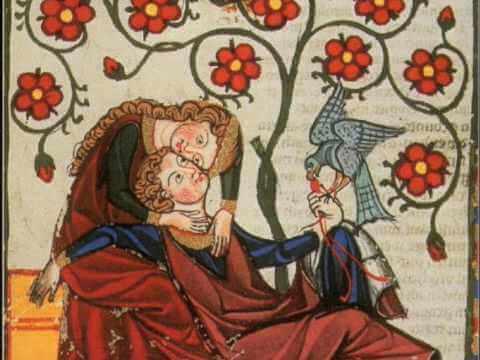 Średniowieczna ilustracja: kobieta tuląca mężczyznę