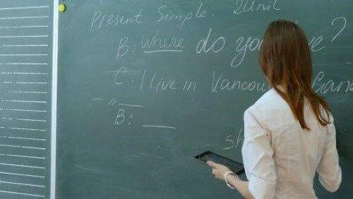 Zajęcia z angielskiego przy tablicy