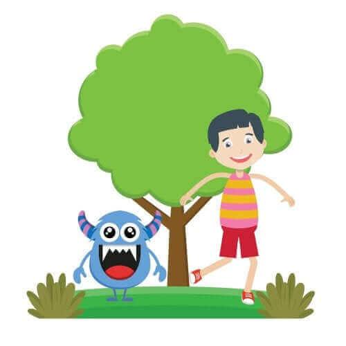 Ilustracja dziecko i potwór
