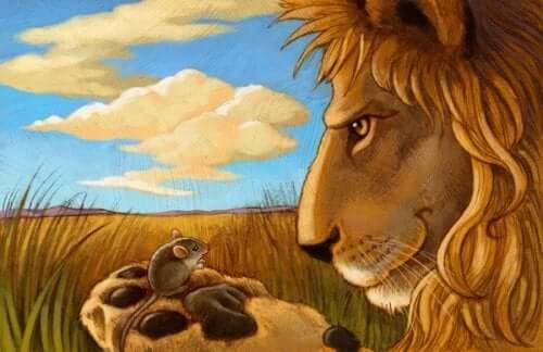 Bajkowy lew i mysz
