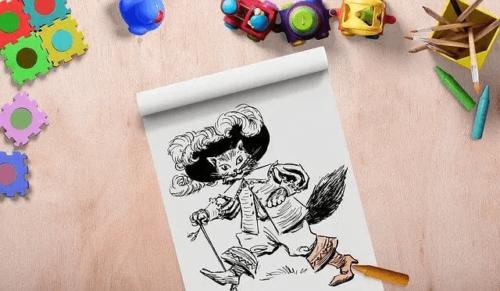 Kot w butach i kapeluszu - kolorowanka